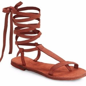 Free People Daliah Brick Red Suede Lace Up Sandals